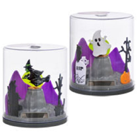 Solar Powered Floating Halloween Scene - Set of 2 Witch & Ghost