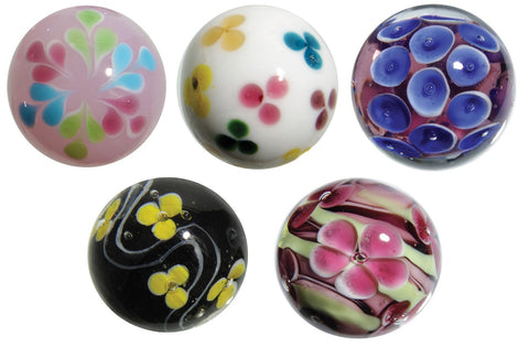 22mm Handmade Art Glass Flower & Coral Marbles,Pack of 5 w/Stands Set 1 Cherry, Daisy and More