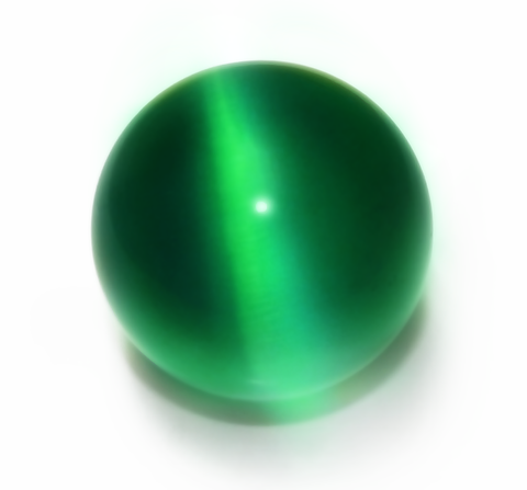 Green 60mm Cat's Eye Orb Gemstone Crystal Ball w Glass Stand