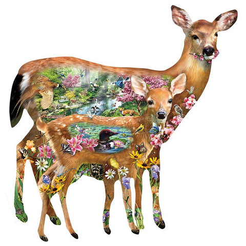 Forest Friends Deer Shaped Jigsaw Puzzle 1000 Piece