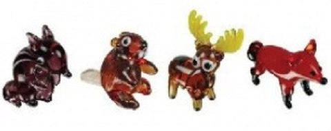 Looking Glass Torch Figurines - Chipmunk, Beaver, Moose & Fox (4-Pack)