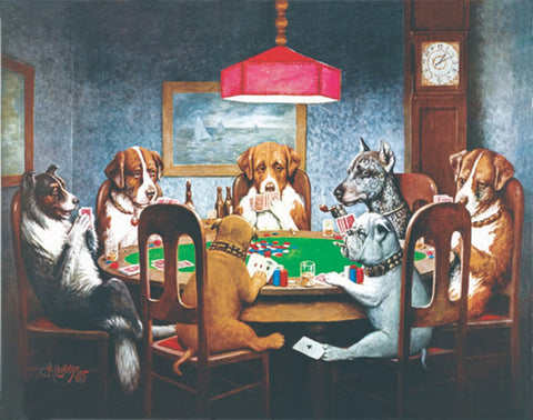 A Friend in Need - Dogs Playing Poker Mini Jigsaw Puzzle 100 Piece