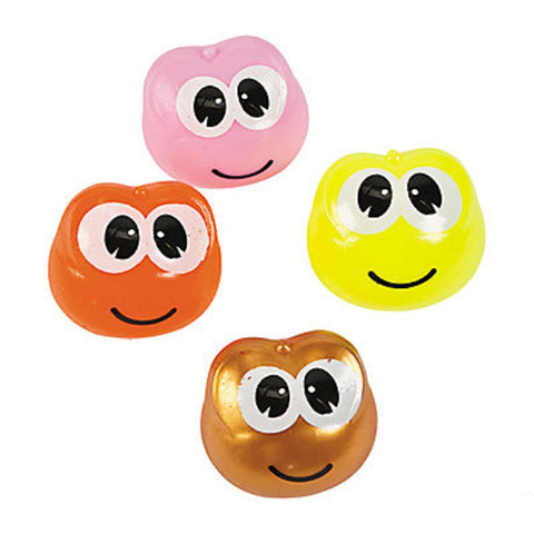 Frog Face Splat Ball Novelty Squishy Stress Relief Toys - Pack w 4 Colors