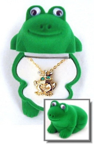 Frog Pendant Gold and Crystal Necklace with Frog Shaped Velour Jewelry Gift Box