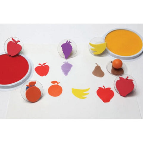 Set of 6 Fruit Giant Rubber Stampers W case/ Pear, Apple Etc.