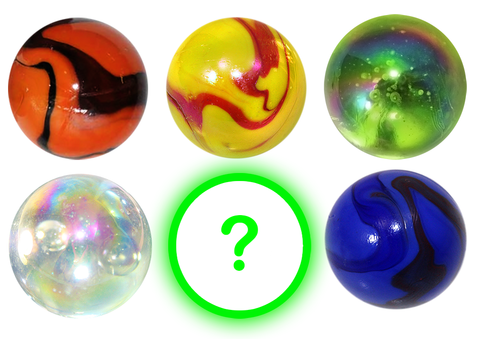 Set of Five 1.4 Inch Mega Marbles Bundle & 1 FREE 35mm Mystery Marble w 6 Stands - Set A