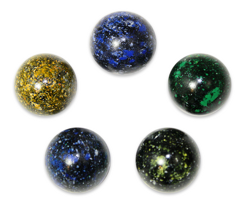 "1"" Galaxy Mega Marble 25mm Shooters - Pack of 5 w/Stands (Assorted Colors)"