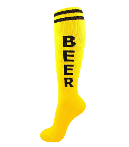Beer Socks Yellow & Black Unisex Athletic Knee Socks by Gumball Poodle