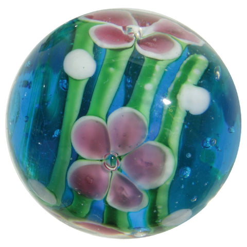"""Gentian"" 22mm Handmade Art Glass Marble w Stand"