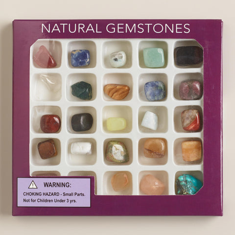 25 Natural Gemstones Separated In Box