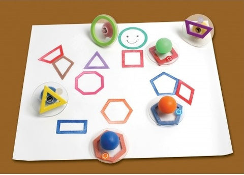 Set of 10 Giant Rubber Stampers - Outline Geometric Shapes Stamps W Case/ Hexagon, Kite Etc.