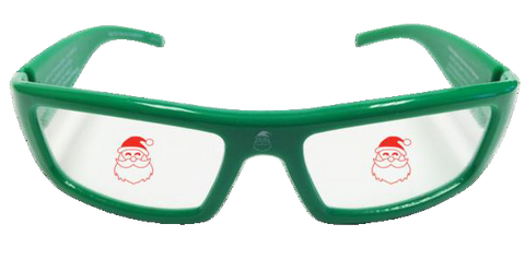 Santa Holographic Glasses - Holiday Specs - Hologram Lenses in Green Plastic Frames