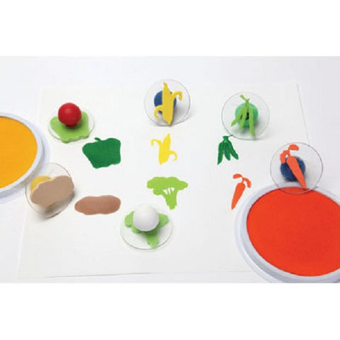 Set of 6 Giant Vegetable Rubber Ink Stampers W Case/ Carrot, Potato Etc.