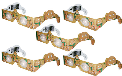 Holographic Glasses: 3D Gingerbread Man at Bright Points of Light - 5 Pack