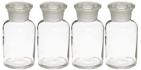 Glass Reagent Bottles:Set of 4-250mL: Apothecary Style: Wide Mouth Bottles