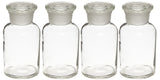 Glass Reagent Bottles: Set of 4-125mL: Apothecary Style: Wide Mouth Bottles: 125ml (4 oz)