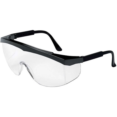 Economical Polycarbonate Safety Glasses, Black Frame, Clear Uncoated Lens 99.9% UV Protection