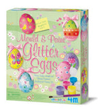 Mold & Paint Glitter Eggs 4M Plaster Fridge Magnet & Decoration Art Kit-Easter