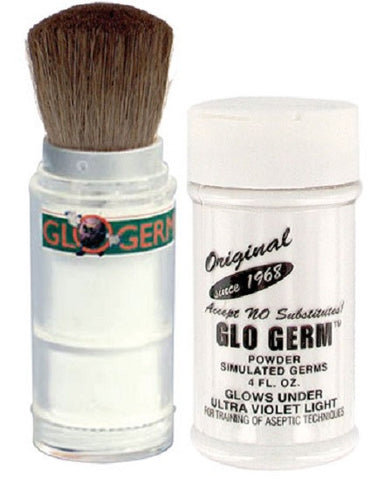 Glo Germ Powder 4oz with Glo-Brush Applicator for Simulated Germs
