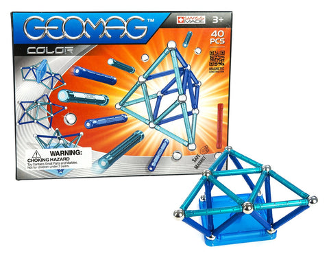 Geomag Color Classic Magnet Construction Set - 40 Piece Magnetic Kit - STEM Compatible