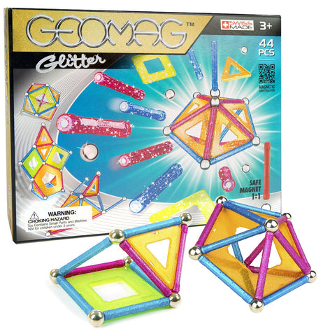 Geomag Glitter Classic Magnet Construction Set - 44 Piece Magnetic Kit - STEM Compatible