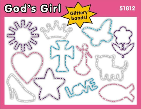God's Girl: Christian Faith Bands Glitter Rubber Band Bracelets 12pk