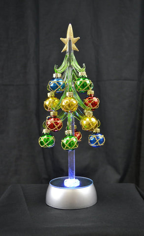 Gold Star Tree - Green Acrylic - Light-Up w Ornaments