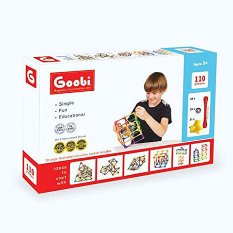 Goobi Magnetic Construction Set - Advanced Pack 110 Pieces STEM Learning