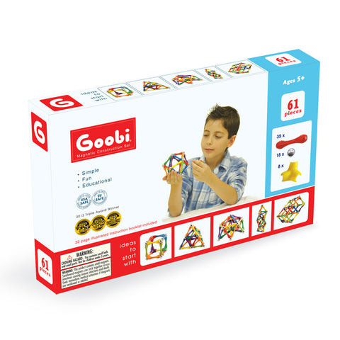 Goobi Magnetic Construction Set - Beginner Pack 61 Pieces