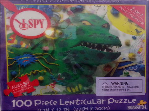 I SPY Green Monster - 3D Lenticular Puzzle & Riddle Game - 100 Pieces