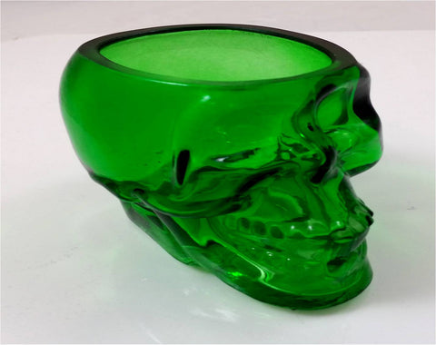 Glass Skull 3 Inch Green Containers/Votive /Candle Holders Set of 2