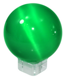 Green 50mm Cat's Eye Orb Gemstone Large Crystal Ball w Glass Stand