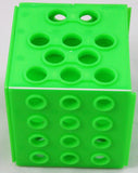 Cube Test Tube Rack - Four Sizes of Holes - Plastic Neon Green