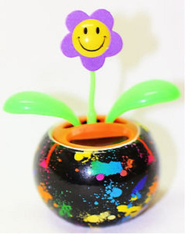 Groovers Color Splashed Solar Dancing Flower with Adhesive Base