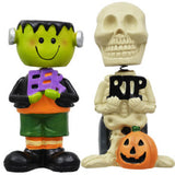 Halloween Bobblehead Set of 4 Includes Skeleton, Mummy, Frankenstein & Pumpkin Man