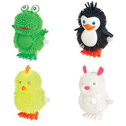 Happy Hoppers - Set of 4 Wind Up Hopping Animals - Penguin, Chick, Rabbit and Frog