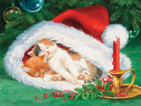 Hat Nap - Cats Sleeping in Christmas Santa Claus Cap Mini Jigsaw Puzzle 100 Piece