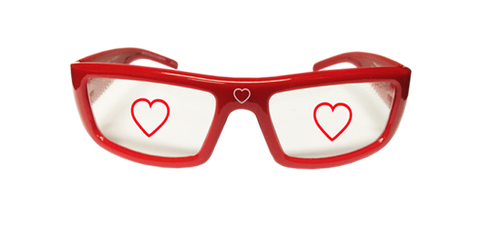 Heart Holographic Glasses - Holiday Specs - Hologram Lenses in Red Plastic Frames