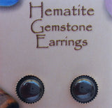 Natural Gemstone Hematite Stud Earrings