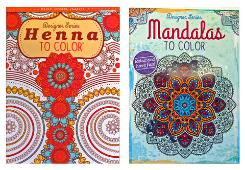Set of 2 Designer Series Mandalas To Color & Henna To Color Adult Coloring Books