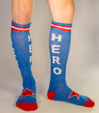 Hero Socks - Blue, Red & White Unisex Athletic Knee Socks