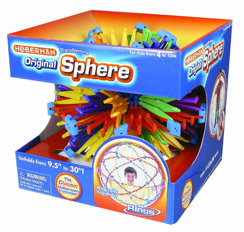 Hoberman Sphere RINGS - Large Transforming  Polyhedral Toy - Expands 9.5 to 30in