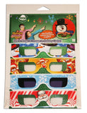 Holiday Magic Specs 4 Pk Holographic Christmas Glasses - With Bonus Interactive Light