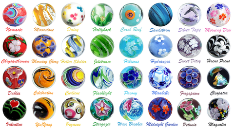 16mm Art Glass Marbles 2018 Collection of 32 Different Patterns w/Stands