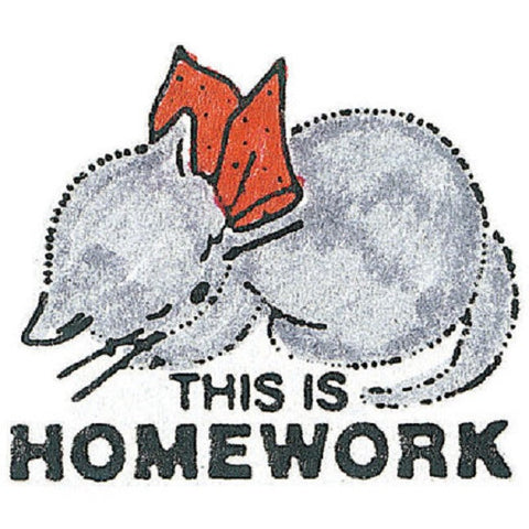 This Is Homework- Large Sleeping Kitten Rubber Stamper: Teachers Aid