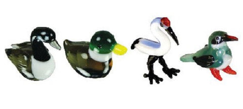 Looking Glass Torch Figurines - Goose, Duck, Crane & KingFisher (4-Pack)