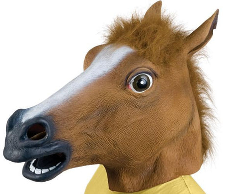 Realistic Horse Head Latex Halloween Mask w Mane