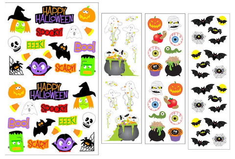 Mrs. Grossman's Halloween Stickers, Set C - Bats, Spiders, Ghosts, Mummies & More