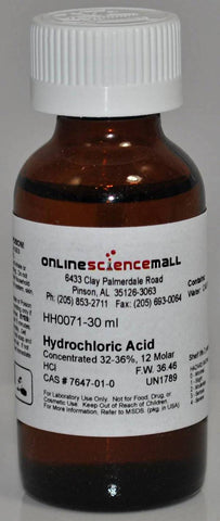 Hydrochloric Acid, Concentrated, 30mL - 12M Chemical Reagent
