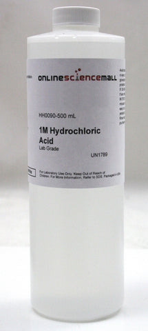 Hydrochloric Acid, 3.14%, 500mL - 1.0M/1.0N Lab Grade Chemical Reagent